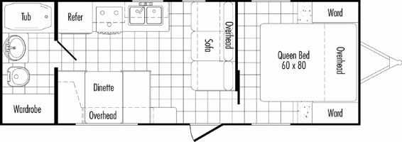 Model 26RB Floor plan THOR california Travel Trailers
